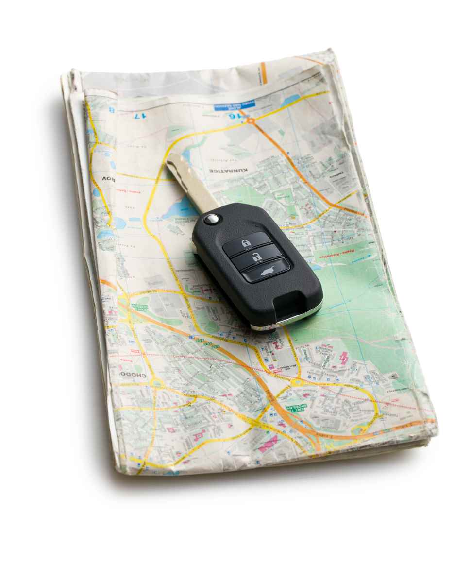 car key with map on white background